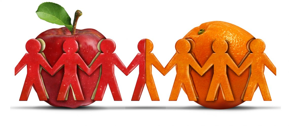 Apples and oranges as a tolerance and friendship symbol for two different groups shaped as people icons coming together as a diverse team in a 3D illustration style.
